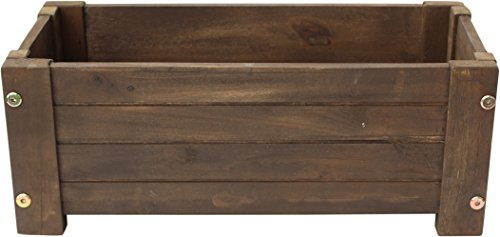 Happy Planter HPCH413 Medium Wood Barrel Outdoor Planter, 19 in. x 10 in. x 8.5 in., Color: Mocha Brown