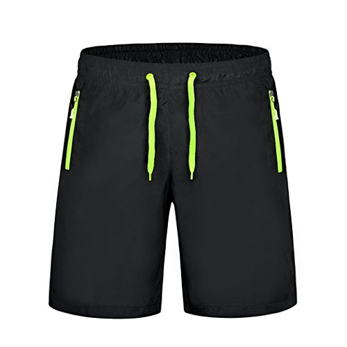 Threelove men's Swim Trunks Quick Dry Athletic Shorts for Running Surfing Swimming Beach Shorts with Zipper Pockets Green-1 S