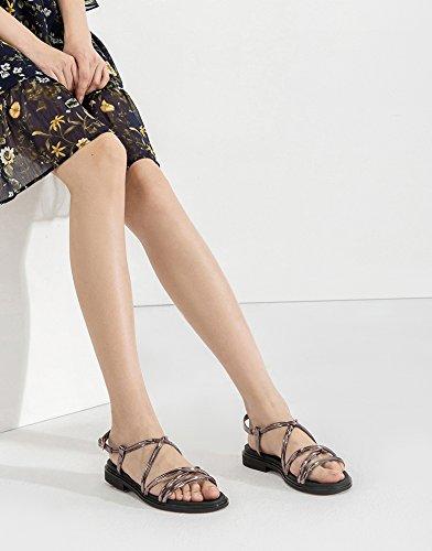 da Pantofole casual estivi Sandali DHG donna alla piatti a Grigio basso tacco Tacchi con moda basso tacco 36 Sandali alti Sandali Ewz55qt
