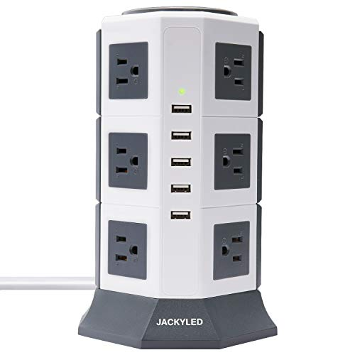 JACKYLED 40W/8A 5 USB 3000W 15A 12 Outlet Power Strip Tower Dual Switch Electric Charging Station Charger USB Hub with 6FT Extension Cord for Home Office Hotel-White and Grey