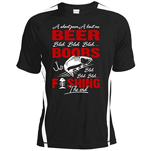 ILCTee A Short Poem About Me Beer Dry Zone Crew, Boobs Fishing The End T Shirt-Colorblock Crew (XXL, Black) ()