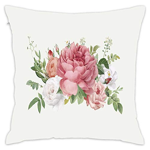 Decorative Soft Throw Pillow Covers, Floral Design Wedding Invitation Cotton Throw Cushion Pillowcases for Sofa Couch Bed Chair, 18 x 18 Inch ()