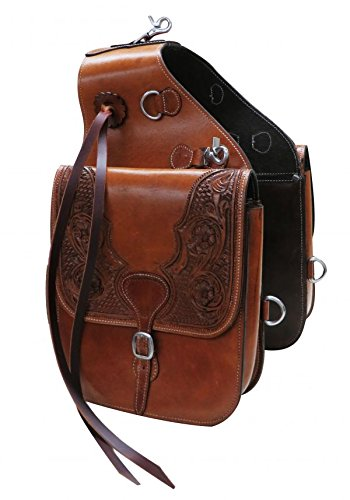 (Showman Medium Oil Tooled Leather Saddle Bag with Snaps)