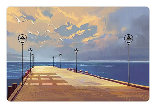 Ambesonne Fantasy Pet Mat For Food And Water  Watercolored Wooden Bridge Pier To The Sea Harbor Bay Coast Cloudy Day With Gull  Rectangle Non Slip Rubber Mat For Dogs And Cats  Cream Blue
