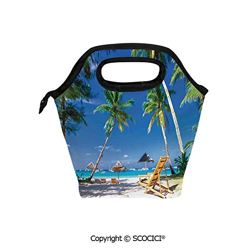 Insulation portable lunch box bag Sun Bed Under Palm Trees Tropical Oceanside in Boracay Island Image Print Soft Fabric lunch bag Mummy bag.]()