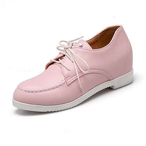 AmoonyFashion Womens Lace-up Kitten-Heels PU Solid Closed Round Toe Pumps-Shoes Pink QpOmlv