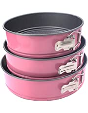 [3-Set] Baking Springform Round Pan Set, Pink 3 Pcs 22-24-26 cm, Non-Stick Mold with Quick Release Latch and Removable Waffle Texture Bottom, Aluminum Made, Lively Pink Color, must use with PARCHMENT PAPER – for Cakes, Pies, quiches, Tortes, Babka – A Kitchen Essential by Kitsch 'n' Spice