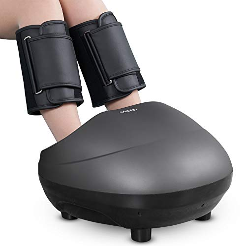 Shiatsu Foot & Leg Massager Machine Tespo Electric Deep Kneading Massage with Heat, Foot & Leg Air Compression, Relieve Foot Pain from Plantar Fasciitis, Improve Blood Circulation (Foot Hammacher Schlemmer Massager)