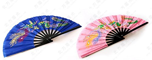 (Dragon loud fan kung fu fan hand fan dedicated fan face Magic Dragon Tai Chi Fan Fan (33cm, Blue+Pine))