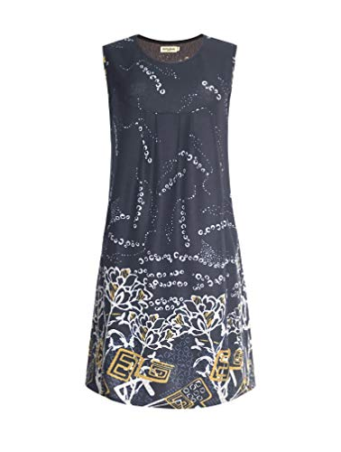 Lavielente Vestido Sin Mangas Con Bolsillos Para Gato Diseno De Pajaros Ramas O Zorros Azul Marino Largex Large