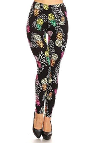(Leggings Mania Women's colorful Pineapple Print High Waist Soft Leggings Black,One Size)