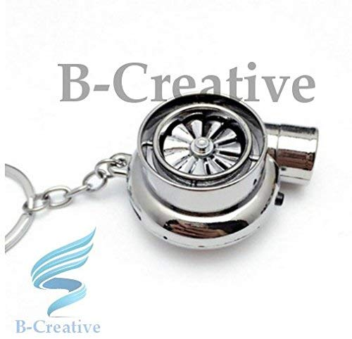 Be-Creative UK Premium Quality LED Turbo Supercharger Honda, Civic Turbine Rechargeable USB Electronic Cigarette Lighter Keyring KeyChain 2017 (Chrome Silver): Toys & Games
