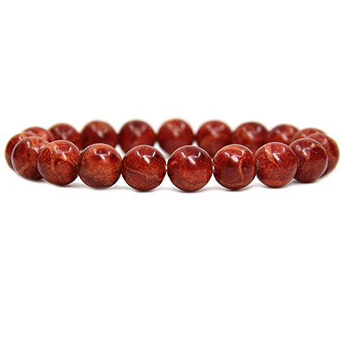 Amandastone Natural Red Coral Genuine Semi-Precious Gemstones Healing 10mm Beaded Stretch Bracelet 7
