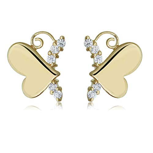 10K Yellow Gold Simulated Diamond CZ Butterfly Heart Earrings