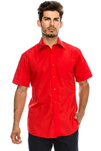 - Men's Regular-Fit Solid Color Short Sleeve Dress Shirt, RED Shirts (L)