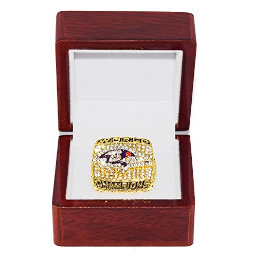 Baltimore Ravens 2000 Super Bowl (BALTIMORE RAVENS (Champs) 2000 SUPER BOWL XXXV WORLD CHAMPIONS Vintage Rare & Collectible High-Quality Replica NFL Football Gold Championship Ring with Cherrywood Display Box)