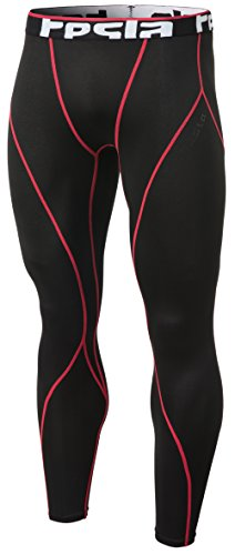(TSLA Men's Thermal Wintergear Compression Baselayer Pants Leggings Tights, Thermal Core(yup33) - Black & Red, Medium)