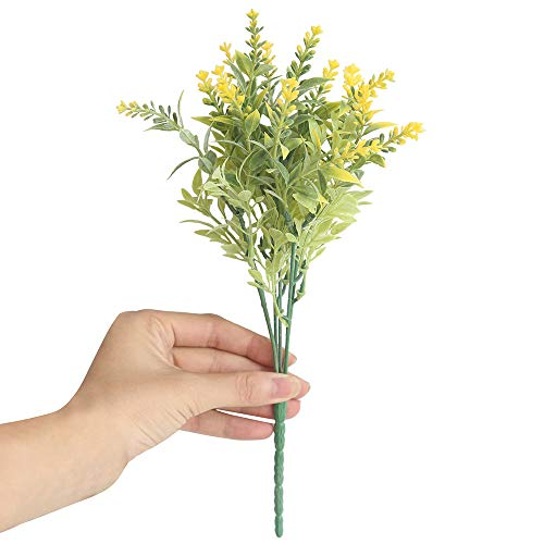 (pengchengxinmiao 15 Heads Artificial Flowers Lifelike Lavender Fake Floral Wedding Home Realistic Decor Anniversary Birthday Valentines Girlfriend Gift (Yellow, Free))