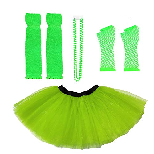 Dreamdanceworks 80s Fancy Costume Set - TUTU & LEG WARMERS & FISHNET GLOVES & BEADS (Lime Green)]()