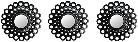 Northlight Set of 3 Round Black Cascading Angular Orbs Mirrors 9.5″