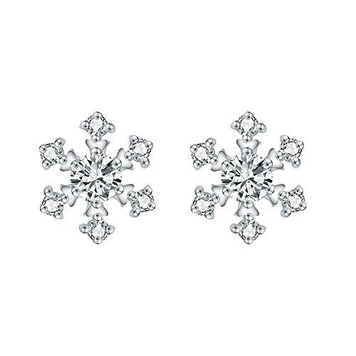 AoedeJ Winter Snowflake Flower Stud Earrings 925 Sterling Silver Earrings Cubic Zirconia Small Flower Earrings (Style2) (Snowflake Earrings Winter)