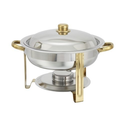 Winware 4 Quart Round Stainless Steel Gold Accented Chafer, Set of 2 by Winco