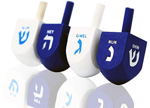 Hanukkah Dreidel Bulk Solid Blue & White Wooden Dreidels Hand Painted - Game Instructions Included! (4-Pack)