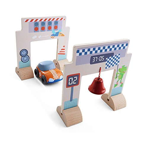 (HABA Kullerbu Accessory Set - Race Track with Orange Speedster (Motor Car), Starting Gate and Finish Line with Bell)