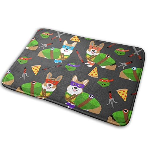 YANAIX Teenage Mutant Corgis - Cute Dogs in Costumes, Cosplay, Comics, Comic-con, Halloween, Dog, Dogs, Charcoal_318 Doormats Bath Rugs Outdoor/Indoor Carpet Bathroom Decor Rug 16