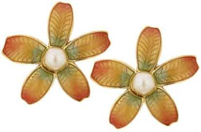 1928 Jewelry Ombre Antiquities Couture Fantasia Fiori Nested Simulated Pearl Earrings