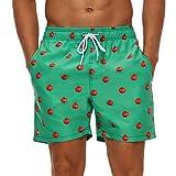 SILKWORLD Men's Swim Trunks Quick Dry Bathing Suit with Pockets Running Shorts, Tomato/Green, Medium