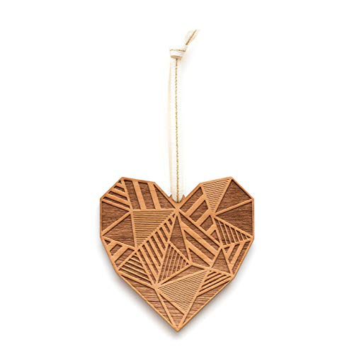 Patchwork Heart Laser Cut Wood Ornament (Christmas/Holiday/Love/Anniversary/Newlyweds/Keepsake) -