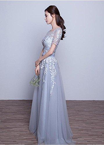 Emily kurze Brautjunfer Kleider Hülsen Rückenfrei Beauty Applique Grau Spitze 6wCxqHHF