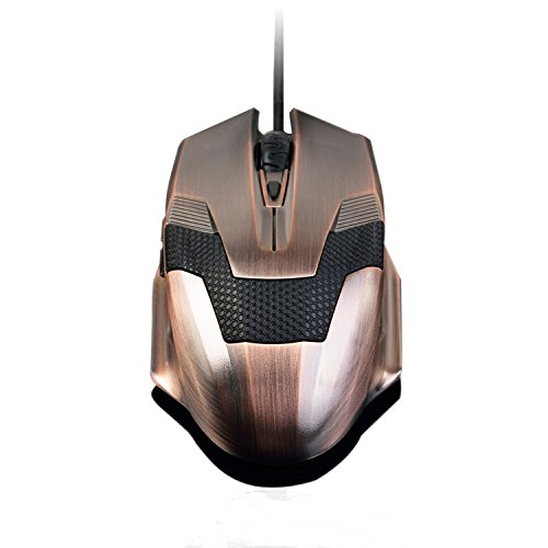 USPRO Gaming Mouse, A-Jazz Optical Wired Game Mice with Adjustable 2000 DPI, 6 Buttons for Laptop PC CF CS WOW, Green Hornet (Bronze)