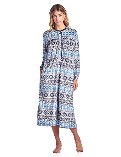 Long Flannel Nightgown (Ashford & Brooks Women's Mink Fleece Long Sleeve Nightgown - Fair Isle Ivory - Large)