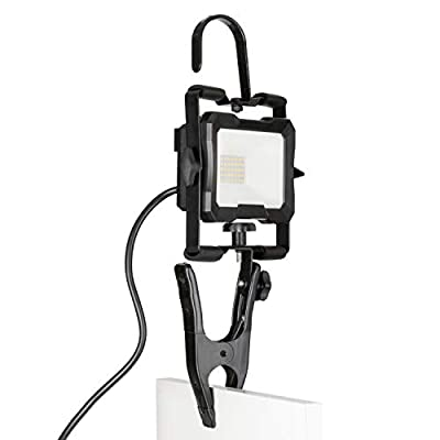Portable LED Work Light, Clamps or Hangs, Lightweight Design, 1800 Lumens, 15 Watts, 4000K Daylight, IP65, ETL Certified