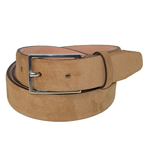 The British Belt Company Men's Stratton Italian Suede Feather Edge 30mm Belt, (Mens Beige Italian Suede)