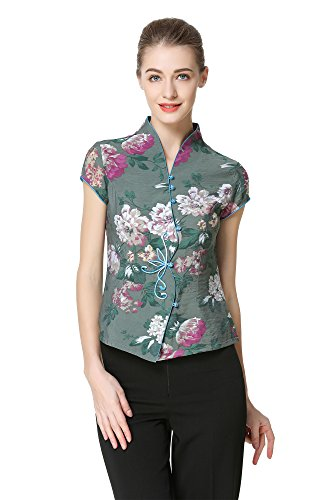 Bitablue Women's Flowers Bloom Chinese Blouse with Curved Front Placket (Large) Green
