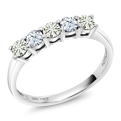 - 10K White Gold 5 Stone Anniversary Band Ring Forever Classic Round 0.30ct (DEW) Created Moissanite by Charles & Colvard and Created Sapphire (Size 6)