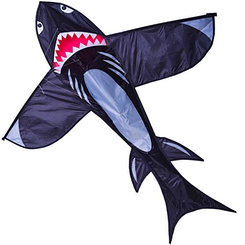 Zhuoyue Shark Kite for Kids and Adults, Easy to Fly 3D Nylon Kite Beach Park, Ripstop Fabric and Single Line Kite with Flying -