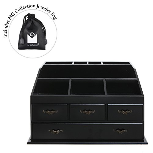 Wood Dresser Top Vanity Cosmetic Organizer Chest Box