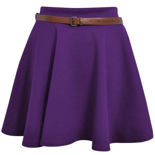 Top Fashion - Mini jupe patineuse Floque Haute Fte Soire Dames Femme Violet