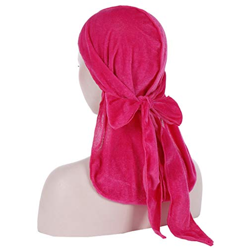 Fashion Muslim Hijab Hair Bandanas Turbans for Women Luxury Gold Velvet Turban Long Tail Stitch Pirate Hat Scarf Headwrap Rose Red (Best Muslim Girl Names In The World)