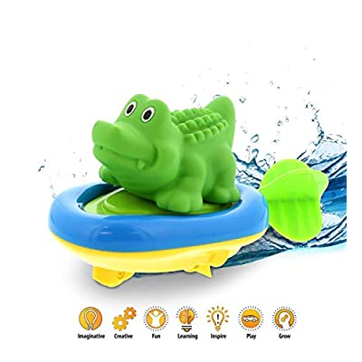 DolliBu Boat Racer Buddy, Fun Educational Bath Toy Finger Puppet Pull and Go Water Racing Jungle Pal for Shower Pool Bathtub Swim Hard Surfaces for Baby Toddler and Boy - 6 Inch - 3 in 1 - Alligator: Toys & Games
