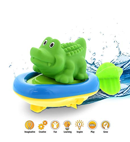 DolliBu Boat Racer Buddy, Fun Educational Bath Toy Finger Puppet Pull and Go Water Racing Pal for Shower Pool Bathtub Swim Hard Surfaces for Baby Toddler and Boy - 6 Inch - 3 in 1 Game (Alligator) ()