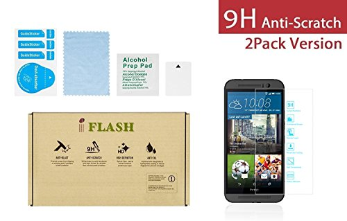 iFlash 2 Pack Tempered Glass Screen Protector for HTC ONE M9 (HTC ONE 3RD Generation / M9 / 2015 Model) AT&T, T-Mobile, Sprint - Scratches Proof & Bubble Free -99.99% Clarity and Touchscreen Accuracy