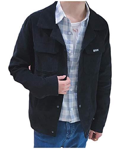 Howme Solid Black Men Biker Jacket Corduroy Pockets Collar Down Turn Moto rHr1PqfYg