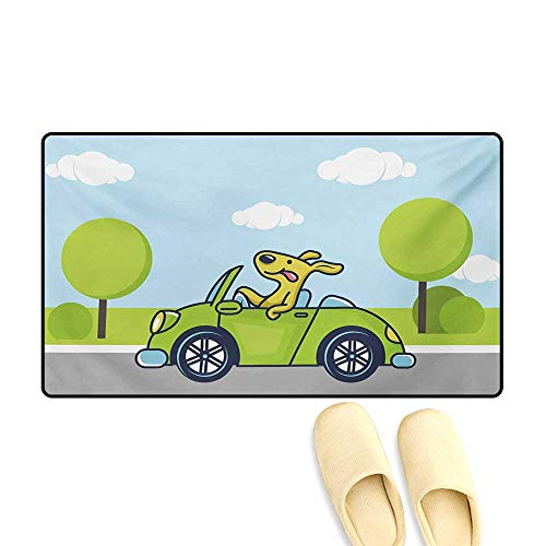 (Bath Mat,Puppy on The Road Car Jack Russell Journey Terrier Speed Race Cartoon,Door Mats for Inside,Baby Blue Lime Green,24