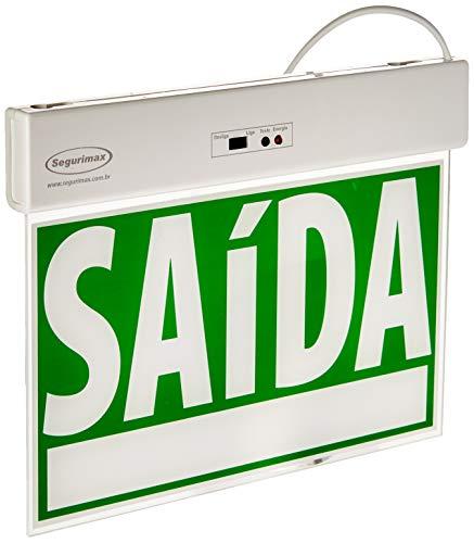Sinalização saída SLIM Face Única Emergência com Adesivo 24x18cm, Segurimax, 25328, Verde, Pequeno