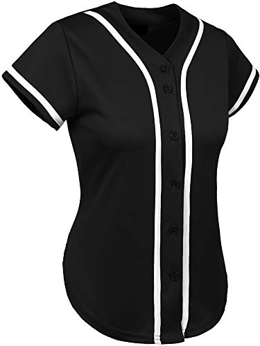 - Hat and Beyond Womens Baseball Button Down Athletic Tee Short Sleeve Softball Jersey Active Plain Sport T Shirt (Large, 3up01 Black/White)